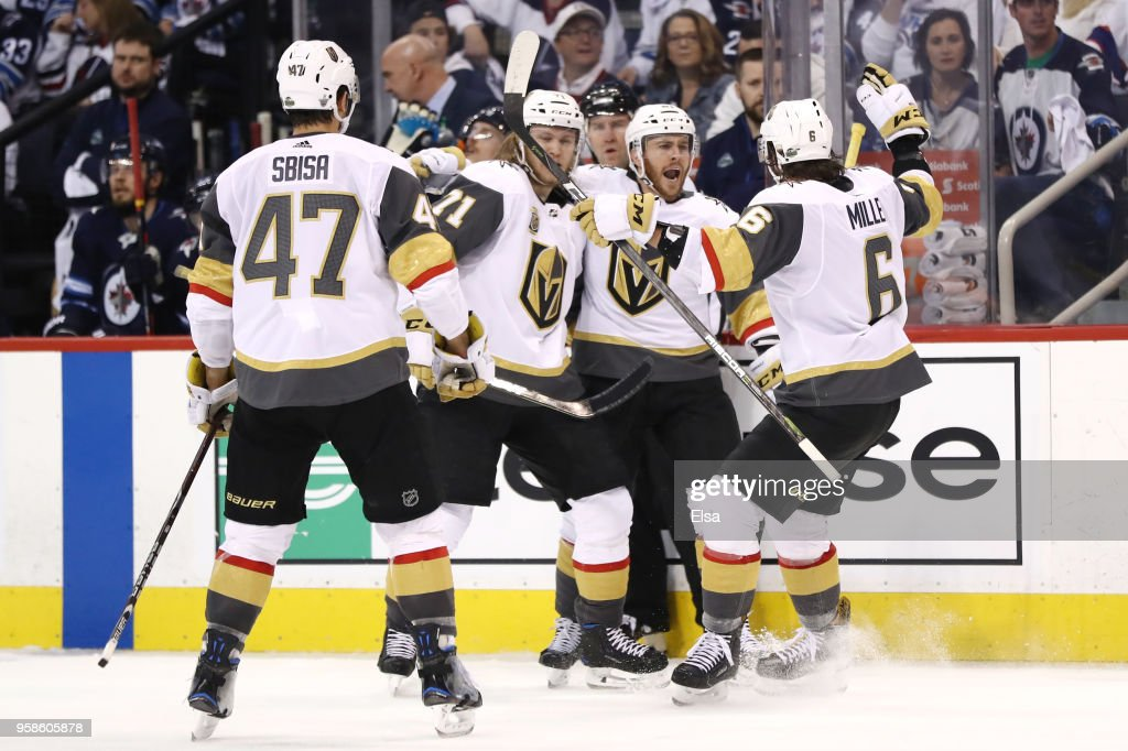 Jonathan Marchessault #81 of the Vegas Golden Knights is congratulated by his teammates after scoring a third period goal against the Winnipeg Jets in Game Two of the Western Conference Finals during the 2018 NHL Stanley Cup Playoffs at Bell MTS Place on May 14, 2018 in Winnipeg, Canada.