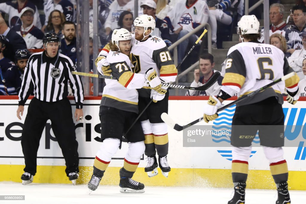 Jonathan Marchessault #81 of the Vegas Golden Knights is congratulated by his teammate William Karlsson #71 after scoring a third period goal against the Winnipeg Jets in Game Two of the Western Conference Finals during the 2018 NHL Stanley Cup Playoffs at Bell MTS Place on May 14, 2018 in Winnipeg, Canada.