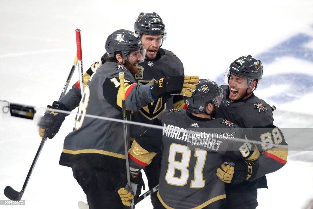 Jonathan Marchessault #81 of the Vegas Golden Knights is congratulated by his teammates after scoring a first-period goal against the Winnipeg Jets in Game Three of the Western Conference Finals during the 2018 NHL Stanley Cup Playoffs at T-Mobile Arena on May 16, 2018 in Las Vegas, Nevada.