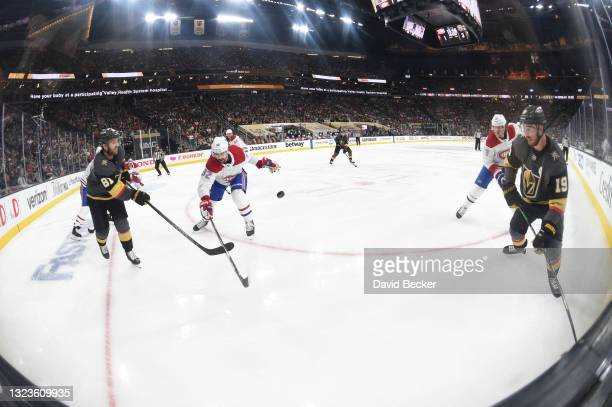 Jonathan Marchessault of the Vegas Golden Knights passes the puck during the third period against the Montreal Canadiens in Game One of the Stanley...