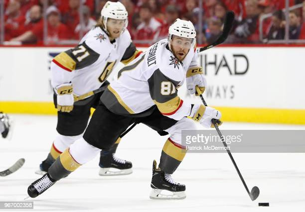 Jonathan Marchessault of the Vegas Golden Knights plays against the Washington Capitals during Game Three of the 2018 NHL Stanley Cup Final at...