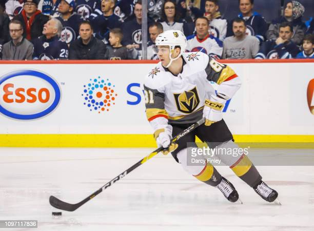 Jonathan Marchessault of the Vegas Golden Knights plays the puck up the ice during first period action against the Winnipeg Jets at the Bell MTS...