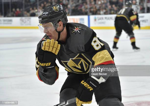 Jonathan Marchessault of the Vegas Golden Knights reacts after receiving a high stick during the first period against the Anaheim Ducks at TMobile...