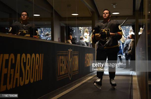 Jonathan Marchessault of the Vegas Golden Knights returns to the locker room after warmups prior to a game against the New York Rangers at TMobile...