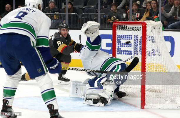Jonathan Marchessault of the Vegas Golden Knights scores his 100th career goal during the second period against the Vancouver Canucks at T-Mobile...