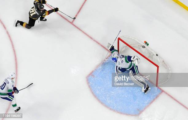 Jonathan Marchessault of the Vegas Golden Knights scores his 100th career goal during the second period against the Vancouver Canucks at TMobile...