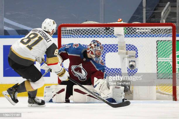 Jonathan Marchessault of the Vegas Golden Knights scores on a penalty shot against goaltender Philipp Grubauer of the Colorado Avalanche in the third...