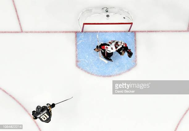 Jonathan Marchessault of the Vegas Golden Knights scores the gamewinning goal on a penalty shot in overtime to defeat the Ottawa Senators at TMobile...