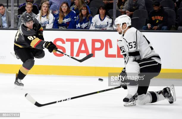 Jonathan Marchessault of the Vegas Golden Knights shoots against Kevin Gravel of the Los Angeles Kings during a preseason game at T-Mobile Arena on...