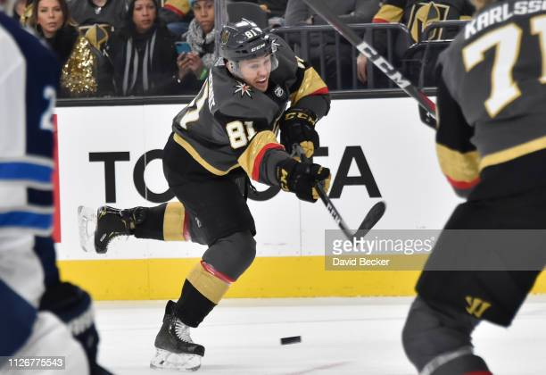 Jonathan Marchessault of the Vegas Golden Knights shoots the puck during the first period against the Winnipeg Jets at T-Mobile Arena on February 22,...