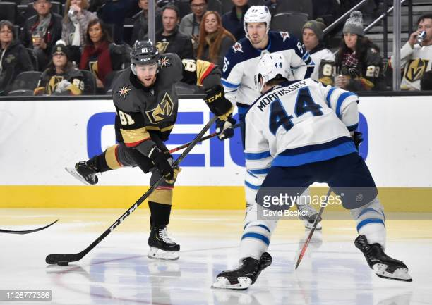 Jonathan Marchessault of the Vegas Golden Knights shoots the puck during the third period against the Winnipeg Jets at T-Mobile Arena on February 22,...