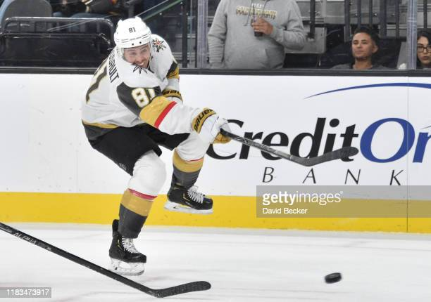 Jonathan Marchessault of the Vegas Golden Knights shoots the puck during the third period against the Colorado Avalanche at T-Mobile Arena on October...