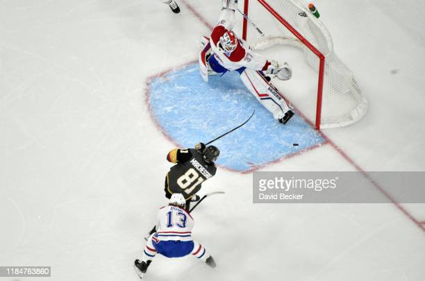 Jonathan Marchessault of the Vegas Golden Knights shoots the puck during the second period against the Montreal Canadiens at TMobile Arena on October...