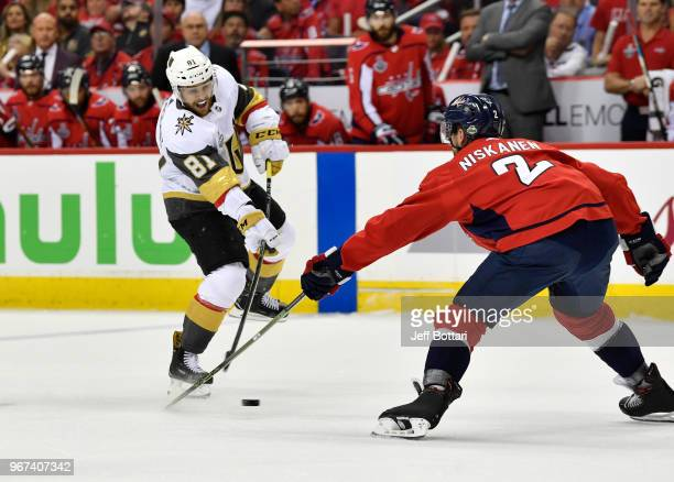 Jonathan Marchessault of the Vegas Golden Knights shoots the puck during the first period against the Washington Capitals Game Four of the Stanley...