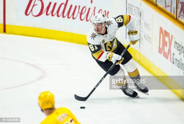 Jonathan Marchessault of the Vegas Golden Knights skates against the Nashville Predators during a NHL game at Bridgestone Arena on January 16 2018 in...
