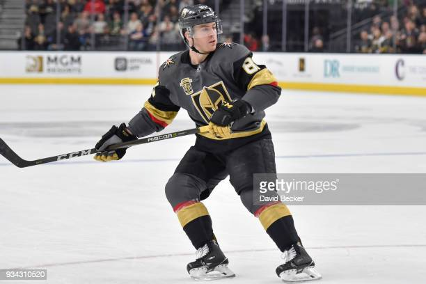 Jonathan Marchessault of the Vegas Golden Knights skates against the Minnesota Wild during the game at TMobile Arena on March 16 2018 in Las Vegas...
