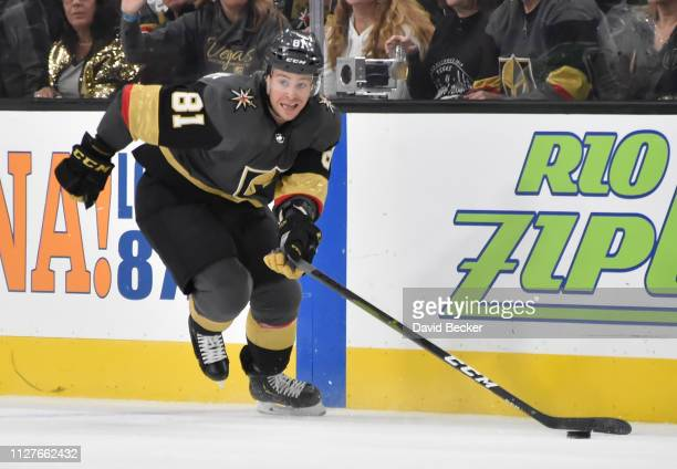 Jonathan Marchessault of the Vegas Golden Knights skates during the first period against the Dallas Stars at T-Mobile Arena on February 26, 2019 in...