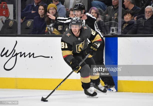 Jonathan Marchessault of the Vegas Golden Knights skates during the first period against the Dallas Stars at TMobile Arena on February 26 2019 in Las...