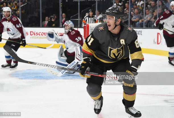 Jonathan Marchessault of the Vegas Golden Knights skates during the first period against the Colorado Avalanche at T-Mobile Arena on September 25,...