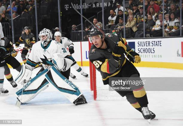 Jonathan Marchessault of the Vegas Golden Knights skates during the third period against the San Jose Sharks at TMobile Arena on October 02 2019 in...