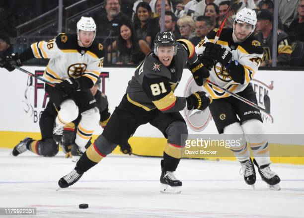 Jonathan Marchessault of the Vegas Golden Knights skates during the third period against the Boston Bruins at TMobile Arena on October 08 2019 in Las...