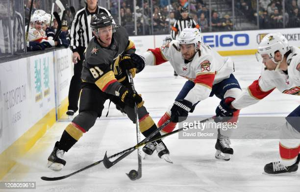 Jonathan Marchessault of the Vegas Golden Knights skates during the first period against the Florida Panthers at TMobile Arena on February 22 2020 in...