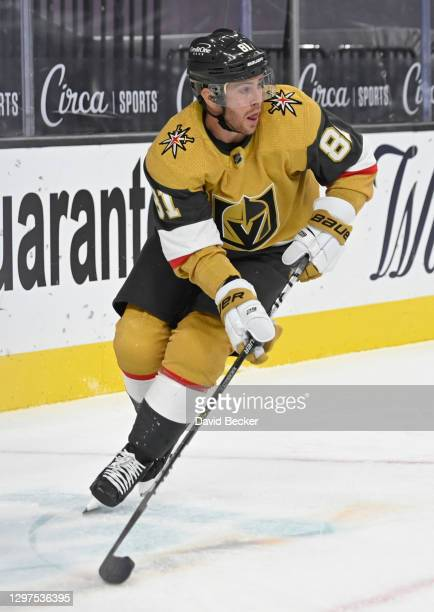 Jonathan Marchessault of the Vegas Golden Knights skates during the third period against the Arizona Coyotes at T-Mobile Arena on January 20, 2021 in...