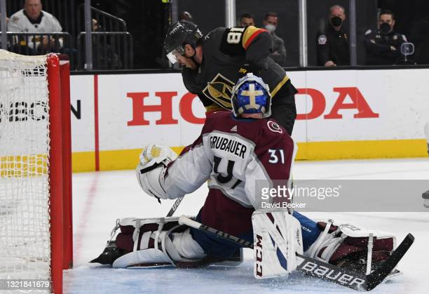 Jonathan Marchessault of the Vegas Golden Knights skates in against Philipp Grubauer of the Colorado Avalanche during the third period in Game Three...
