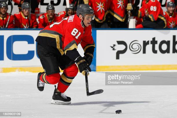 Jonathan Marchessault of the Vegas Golden Knights skates with the puck against the Colorado Avalanche during the 'NHL Outdoors At Lake Tahoe' at the...