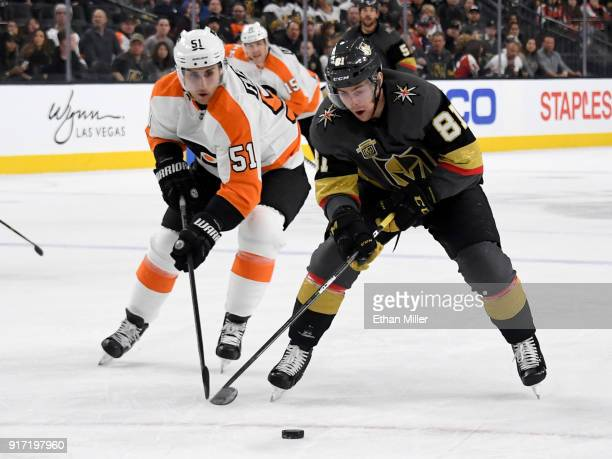 Jonathan Marchessault of the Vegas Golden Knights skates with the puck against Valtteri Filppula of the Philadelphia Flyers in the second period of...