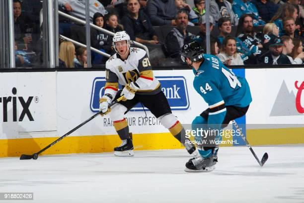 Jonathan Marchessault of the Vegas Golden Knights skates with the puck against MarcEdouard Vlasic of the San Jose Sharks at SAP Center on February 8...