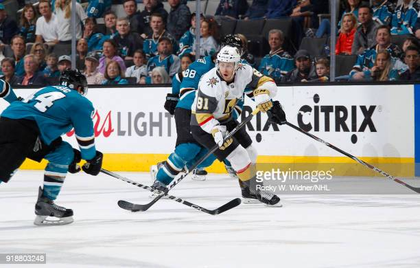 Jonathan Marchessault of the Vegas Golden Knights skates with the puck against the San Jose Sharks at SAP Center on February 8 2018 in San Jose...