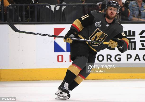 Jonathan Marchessault of the Vegas Golden Knights skates with the puck during Game Five of the 2018 NHL Stanley Cup Final against the Washington...