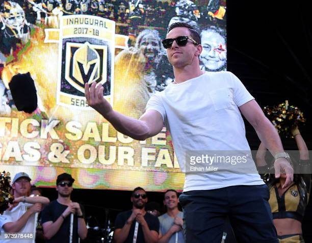 Jonathan Marchessault of the Vegas Golden Knights throws Tshirts to the crowd as he is introduced at the team's 'Stick Salute to Vegas and Our Fans'...