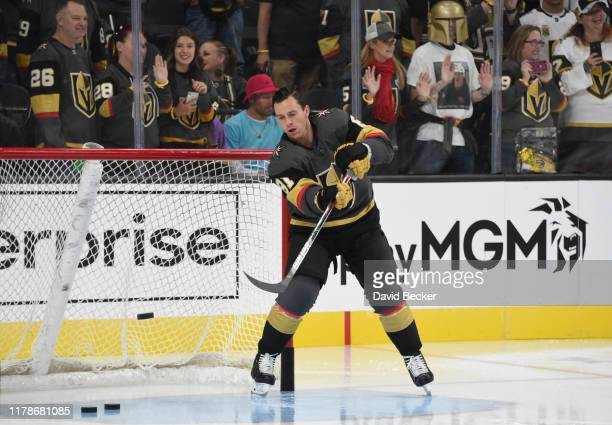 Jonathan Marchessault of the Vegas Golden Knights warms up prior to a game against the San Jose Sharks at TMobile Arena on October 02 2019 in Las...