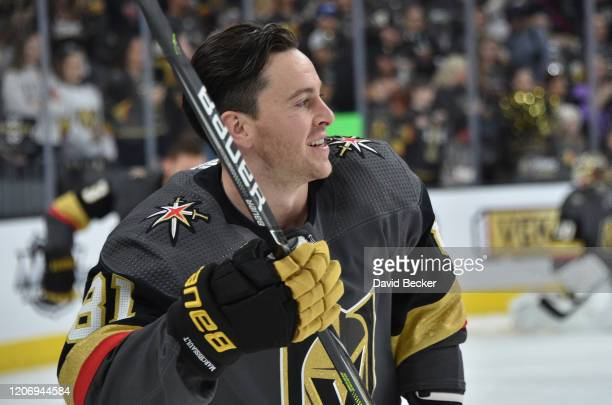 Jonathan Marchessault of the Vegas Golden Knights warms up prior to a game against the Washington Capitals at TMobile Arena on February 17 2020 in...