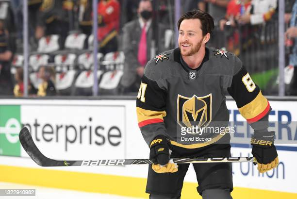 Jonathan Marchessault of the Vegas Golden Knights warms up prior to Game Six of the Second Round of the 2021 Stanley Cup Playoffs against the...