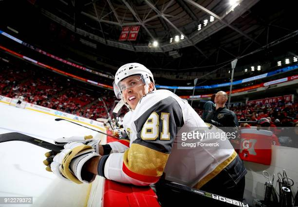 Jonathan Marchessault of the Vegas Golden Knights watches action on the ice from the bench area during an NHL game against the Carolina Hurricanes on...