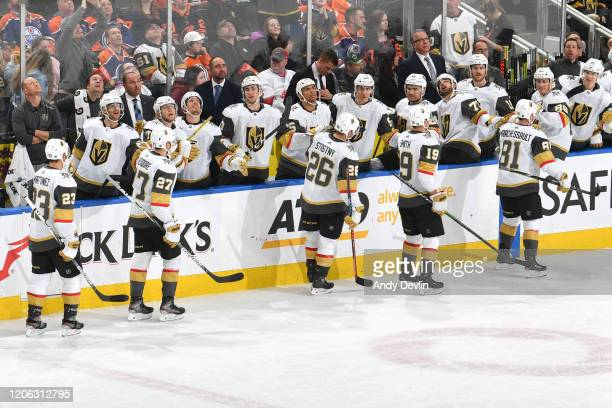 Jonathan Marchessault Reilly Smith Paul Stastny Shea Theodore and Alec Martinez of the Vegas Golden Knights celebrate after a goal during the game...