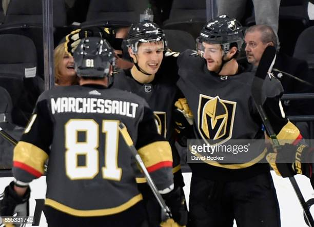 Jonathan Marchessault, Vadim Shipachyov and Colin Miller of the Vegas Golden Knights celebrate a goal against the Colorado Avalanche during a...