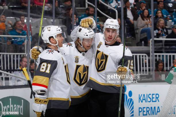 Jonathan Marchessault William Karlsson and Reilly Smith of the Vegas Golden Knights skate against the San Jose Sharks at SAP Center on February 8...