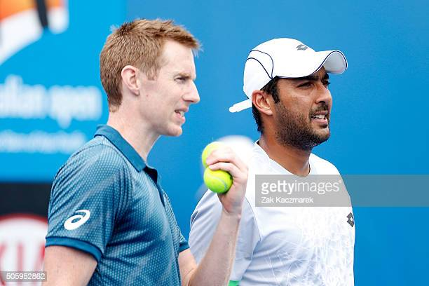 Jonathan Marray of Great Britain and AisamUlHaq Qureshi of Pakistan compete in their first round match against Jamie Murray of Great Britain and...