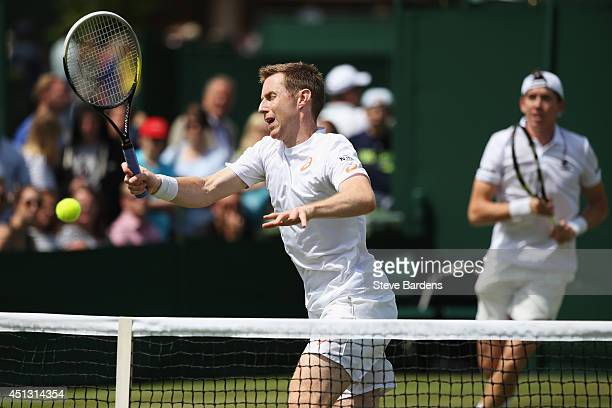 Jonathan Marray of Great Britain and JohnPatrick Smith of Australia during their Gentlemen's Doubles second round match against JuanSebastian Cabal...