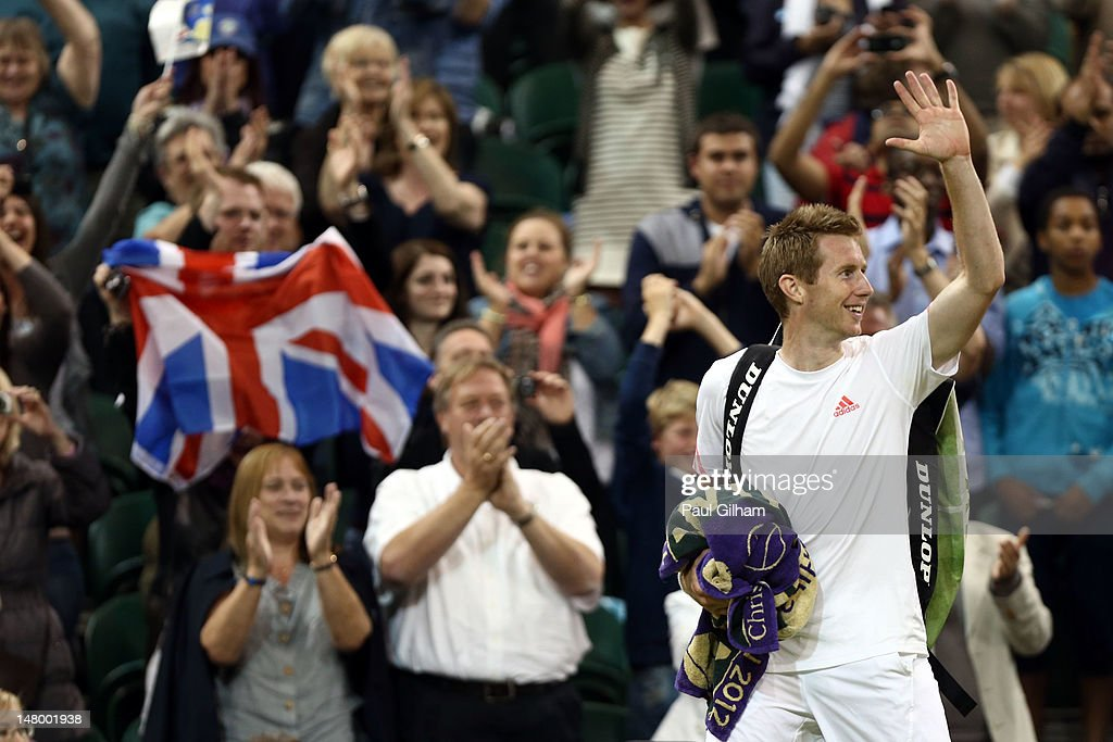 Jonathan Marray of Great Britain celebrates after his Gentleman's Doubles final match against Robert Lindstedt of Sweden and Horia Tecau of Romania on day twelve of the Wimbledon Lawn Tennis Championships at the All England Lawn Tennis and Croquet Club on July 7, 2012 in London, England.