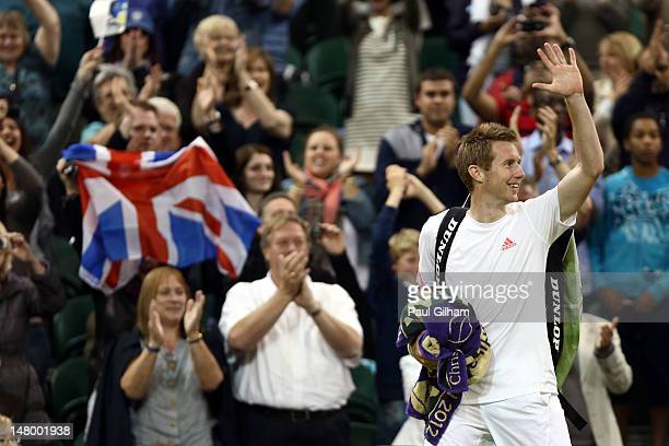 Jonathan Marray of Great Britain celebrates after his Gentleman's Doubles final match against Robert Lindstedt of Sweden and Horia Tecau of Romania...