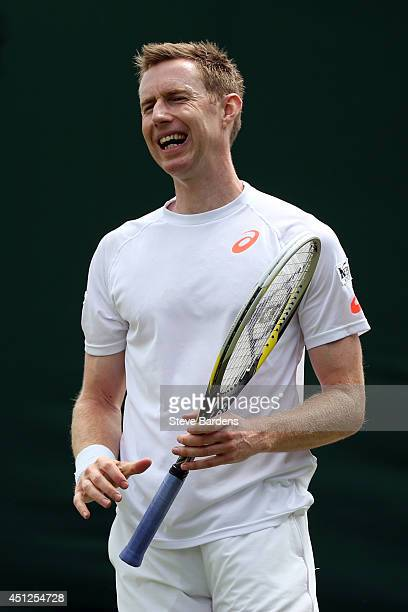 Jonathan Marray of Great Britain during their Gentlemen's Doubles first round match with JohnPatrick Smith of Australia against Andreas Siljestrom of...