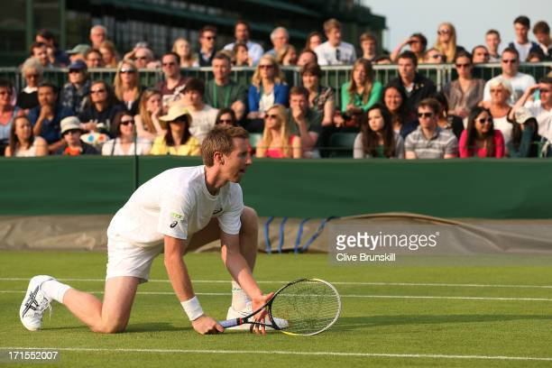 Jonathan Marray of Great Britain in action during the Gentlemen's Doubles first round match between Colin Fleming of Great Britain and Jonathan...