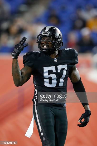 Jonathan Massaquoi of the Birmingham Iron reacts as they take on the Memphis Express during the second quarter of their Alliance of American Football...