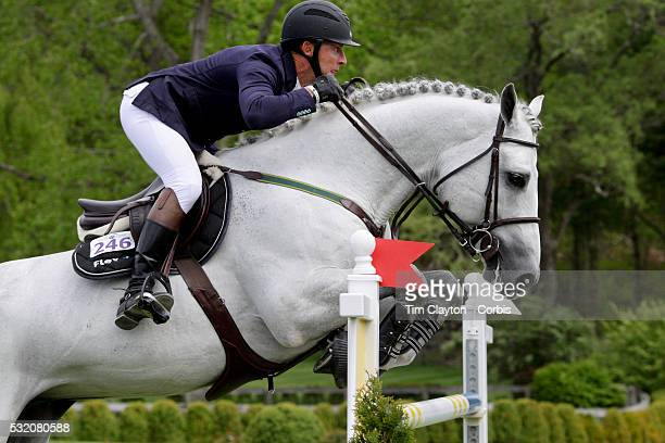 Jonathan McCrea USA riding Brugal VCL in action during The $50000 Old Salem Farm Grand Prix presented by The Kincade Group at the Old Salem Farm...