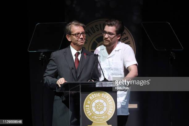 Jonathan McHugh and Hunter George speak onstage during the 9th Annual Guild of Music Supervisors Awards on February 13 2019 at The Theatre at Ace...
